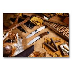 Premium Textil-Leinwand 90 x 60 cm Quer-Format Handgefertigte Jagdmesser – Arrangement | Wandbild, HD-Bild auf Keilrahmen, Fertigbild auf hochwertigem Vlies, Leinwanddruck von Georg Hergenhan