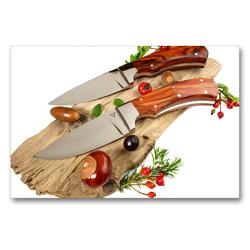 Premium Textil-Leinwand 90 x 60 cm Quer-Format Handgefertigte Jagdmesser mit herbstlicher Dekoration auf Holz | Wandbild, HD-Bild auf Keilrahmen, Fertigbild auf hochwertigem Vlies, Leinwanddruck von Georg Hergenhan