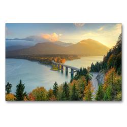 Premium Textil-Leinwand 90 x 60 cm Quer-Format Herbst am Sylvensteinsee in Bayern | Wandbild, HD-Bild auf Keilrahmen, Fertigbild auf hochwertigem Vlies, Leinwanddruck von Michael Valjak