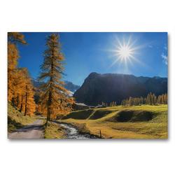 Premium Textil-Leinwand 90 x 60 cm Quer-Format Herbstlandschaft Malerisches Sertigtal in den Schweizer Alpen | Wandbild, HD-Bild auf Keilrahmen, Fertigbild auf hochwertigem Vlies, Leinwanddruck von SusaZoom