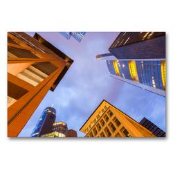 Premium Textil-Leinwand 90 x 60 cm Quer-Format Hochhäuser von Banken und Versicherungen im Bankenviertel in Frankfurt am Main | Wandbild, HD-Bild auf Keilrahmen, Fertigbild auf hochwertigem Vlies, Leinwanddruck von Werner Dieterich