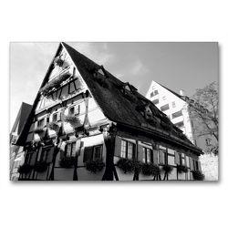 Premium Textil-Leinwand 90 x 60 cm Quer-Format Hotel Schiefes Haus im Ulmer Fischerviertel | Wandbild, HD-Bild auf Keilrahmen, Fertigbild auf hochwertigem Vlies, Leinwanddruck von kattobello
