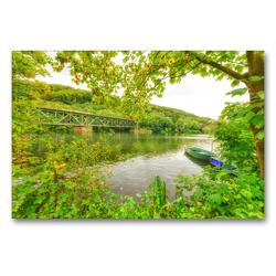 Premium Textil-Leinwand 90 x 60 cm Quer-Format Idyllischer Blick auf die alte Eisenbahnbrücke über der Ruhr | Wandbild, HD-Bild auf Keilrahmen, Fertigbild auf hochwertigem Vlies, Leinwanddruck von Bettina Hackstein