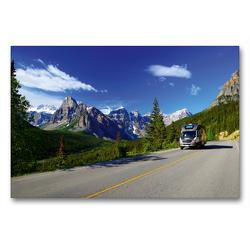 Premium Textil-Leinwand 90 x 60 cm Quer-Format KANADA – Mit Campmobil quer durch   Wandbild, HD-Bild auf Keilrahmen, Fertigbild auf hochwertigem Vlies, Leinwanddruck von Hans-Gerhard Pfaff