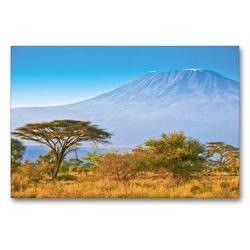 Premium Textil-Leinwand 90 x 60 cm Quer-Format Kilimandscharo bei Sonnenaufgang | Wandbild, HD-Bild auf Keilrahmen, Fertigbild auf hochwertigem Vlies, Leinwanddruck von Jürgen Feuerer