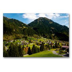 Premium Textil-Leinwand 90 x 60 cm Quer-Format Kleines Dorf bei Gaschurn | Wandbild, HD-Bild auf Keilrahmen, Fertigbild auf hochwertigem Vlies, Leinwanddruck von Tanja Riedel