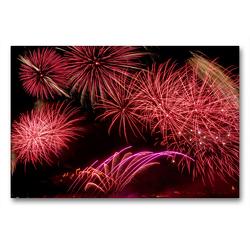 Premium Textil-Leinwand 90 x 60 cm Quer-Format Kölner Lichter – Sinfonie in Rot | Wandbild, HD-Bild auf Keilrahmen, Fertigbild auf hochwertigem Vlies, Leinwanddruck von Elisabeth Schittenhelm