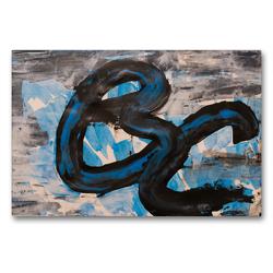 Premium Textil-Leinwand 90 x 60 cm Quer-Format Komposition aus blau und schwarz | Wandbild, HD-Bild auf Keilrahmen, Fertigbild auf hochwertigem Vlies, Leinwanddruck von N N