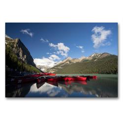 Premium Textil-Leinwand 90 x 60 cm Quer-Format Lake Louise / Alberta   Wandbild, HD-Bild auf Keilrahmen, Fertigbild auf hochwertigem Vlies, Leinwanddruck von Georg Beck