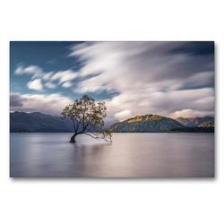 Premium Textil-Leinwand 90 x 60 cm Quer-Format Lake Wanaka und der einsame Wanaka Tree | Wandbild, HD-Bild auf Keilrahmen, Fertigbild auf hochwertigem Vlies, Leinwanddruck von Alexander Höntschel