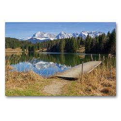 Premium Textil-Leinwand 90 x 60 cm Quer-Format Landschaft Oberbayern Geroldsee und Karwendelgebirge   Wandbild, HD-Bild auf Keilrahmen, Fertigbild auf hochwertigem Vlies, Leinwanddruck von SusaZoom