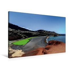 Premium Textil-Leinwand 90 x 60 cm Quer-Format Lanzarote Meisterwerke der Vulkane   Wandbild, HD-Bild auf Keilrahmen, Fertigbild auf hochwertigem Vlies, Leinwanddruck von Dieter Meyer
