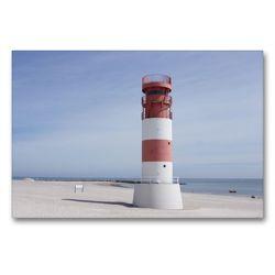 Premium Textil-Leinwand 90 x 60 cm Quer-Format Leuchtturm auf Helgoland-Düne | Wandbild, HD-Bild auf Keilrahmen, Fertigbild auf hochwertigem Vlies, Leinwanddruck von Kattobello