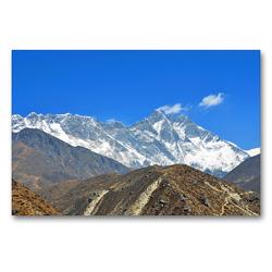Premium Textil-Leinwand 90 x 60 cm Quer-Format Lhotse (8516 m) und Everest (8848 m) von links bei Orsho (4150 m) | Wandbild, HD-Bild auf Keilrahmen, Fertigbild auf hochwertigem Vlies, Leinwanddruck von Ulrich Senff