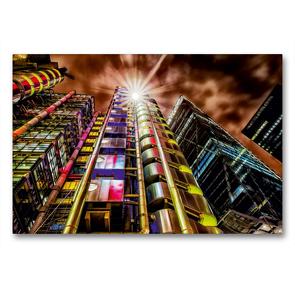 Premium Textil-Leinwand 90 x 60 cm Quer-Format Lloyd's Building in London, Großbritannien | Wandbild, HD-Bild auf Keilrahmen, Fertigbild auf hochwertigem Vlies, Leinwanddruck von Christian Müller