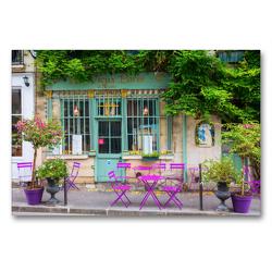 Premium Textil-Leinwand 90 x 60 cm Quer-Format malerisches Cafe in Paris | Wandbild, HD-Bild auf Keilrahmen, Fertigbild auf hochwertigem Vlies, Leinwanddruck von Christian Müller