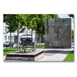 Premium Textil-Leinwand 90 x 60 cm Quer-Format Mannheim: Carl-Benz-Denkmal (Oststadt) | Wandbild, HD-Bild auf Keilrahmen, Fertigbild auf hochwertigem Vlies, Leinwanddruck von Thomas Seethaler