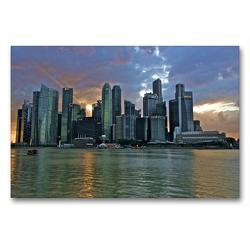 Premium Textil-Leinwand 90 x 60 cm Quer-Format Marina Bay Skyline Singapore | Wandbild, HD-Bild auf Keilrahmen, Fertigbild auf hochwertigem Vlies, Leinwanddruck von Ralf Wittstock