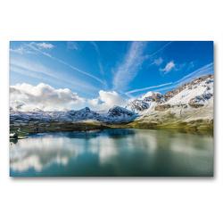 Premium Textil-Leinwand 90 x 60 cm Quer-Format Melchsee-frutt | Wandbild, HD-Bild auf Keilrahmen, Fertigbild auf hochwertigem Vlies, Leinwanddruck von Jackie Venzin