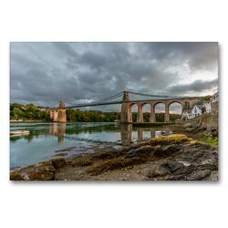 Premium Textil-Leinwand 90 x 60 cm Quer-Format Menai Suspension Bridge | Wandbild, HD-Bild auf Keilrahmen, Fertigbild auf hochwertigem Vlies, Leinwanddruck von Rene Schubert
