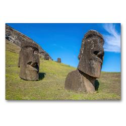 Premium Textil-Leinwand 90 x 60 cm Quer-Format Moai Steinfiguren beim Vulkan Rano Raraku, Osterinsel, Chile | Wandbild, HD-Bild auf Keilrahmen, Fertigbild auf hochwertigem Vlies, Leinwanddruck von Manfred Leiter