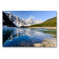 Premium Textil-Leinwand 90 x 60 cm Quer-Format Moraine Lake, Juwel im Banff NP. | Wandbild, HD-Bild auf Keilrahmen, Fertigbild auf hochwertigem Vlies, Leinwanddruck von Adrian Geering