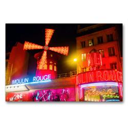 Premium Textil-Leinwand 90 x 60 cm Quer-Format Moulin Rouge in Paris bei Nacht | Wandbild, HD-Bild auf Keilrahmen, Fertigbild auf hochwertigem Vlies, Leinwanddruck von Christian Müller