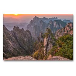 Premium Textil-Leinwand 90 x 60 cm Quer-Format Mount Huangshan, Yellow Mountain, Anhui Province   Wandbild, HD-Bild auf Keilrahmen, Fertigbild auf hochwertigem Vlies, Leinwanddruck von Christian Heeb