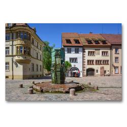 Premium Textil-Leinwand 90 x 60 cm Quer-Format Münsterbrunnen in Villingen   Wandbild, HD-Bild auf Keilrahmen, Fertigbild auf hochwertigem Vlies, Leinwanddruck von Stefanie und Philipp Kellmann