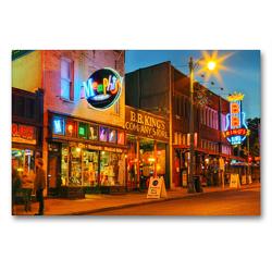 Premium Textil-Leinwand 90 x 60 cm Quer-Format Musikkneipen in der Beale Street, Memphis, Tennessee | Wandbild, HD-Bild auf Keilrahmen, Fertigbild auf hochwertigem Vlies, Leinwanddruck von gro
