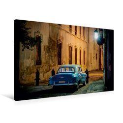Premium Textil-Leinwand 90 x 60 cm Quer-Format Nachts in den Gassen von Havanna | Wandbild, HD-Bild auf Keilrahmen, Fertigbild auf hochwertigem Vlies, Leinwanddruck von Jens Schneider von Schneider,  Jens
