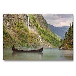 Premium Textil-Leinwand 90 x 60 cm Quer-Format Naeroyfjord in Norwegen | Wandbild, HD-Bild auf Keilrahmen, Fertigbild auf hochwertigem Vlies, Leinwanddruck von Johann Schörkhuber