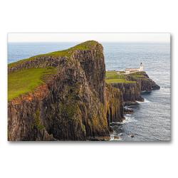 Premium Textil-Leinwand 90 x 60 cm Quer-Format Neist Point Leutturm – Isle of Skye | Wandbild, HD-Bild auf Keilrahmen, Fertigbild auf hochwertigem Vlies, Leinwanddruck von TJPhotography