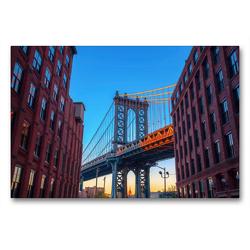 Premium Textil-Leinwand 90 x 60 cm Quer-Format Manhattan Bridge in New York City | Wandbild, HD-Bild auf Keilrahmen, Fertigbild auf hochwertigem Vlies, Leinwanddruck von Christian Müller
