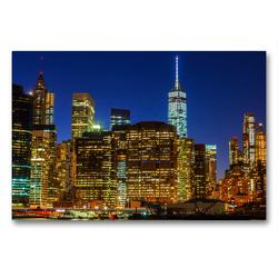 Premium Textil-Leinwand 90 x 60 cm Quer-Format Skyline von Downtown Manhattan | Wandbild, HD-Bild auf Keilrahmen, Fertigbild auf hochwertigem Vlies, Leinwanddruck von Christian Müller