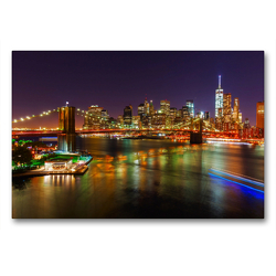 Premium Textil-Leinwand 90 x 60 cm Quer-Format Brooklyn Bridge in NYC bei Nacht | Wandbild, HD-Bild auf Keilrahmen, Fertigbild auf hochwertigem Vlies, Leinwanddruck von Christian Müller