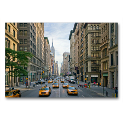 Premium Textil-Leinwand 90 x 60 cm Quer-Format NYC Fifth Avenue Verkehr | Wandbild, HD-Bild auf Keilrahmen, Fertigbild auf hochwertigem Vlies, Leinwanddruck von Melanie Viola