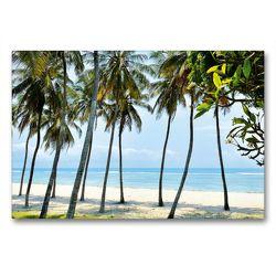 Premium Textil-Leinwand 90 x 60 cm Quer-Format Palmenstrand Ostafrika   Wandbild, HD-Bild auf Keilrahmen, Fertigbild auf hochwertigem Vlies, Leinwanddruck von Jürgen Feuerer