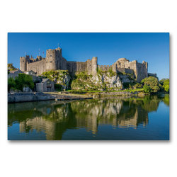 Premium Textil-Leinwand 90 x 60 cm Quer-Format Pembroke Castle | Wandbild, HD-Bild auf Keilrahmen, Fertigbild auf hochwertigem Vlies, Leinwanddruck von Rene Schubert