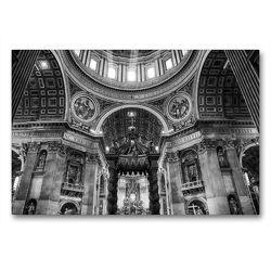 Premium Textil-Leinwand 90 x 60 cm Quer-Format Petersdom im Vatikan   Wandbild, HD-Bild auf Keilrahmen, Fertigbild auf hochwertigem Vlies, Leinwanddruck von Sergej Dimmel