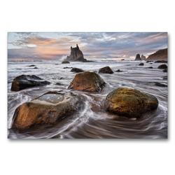 Premium Textil-Leinwand 90 x 60 cm Quer-Format Playa de Benijo   Wandbild, HD-Bild auf Keilrahmen, Fertigbild auf hochwertigem Vlies, Leinwanddruck von Rolf Schnepp