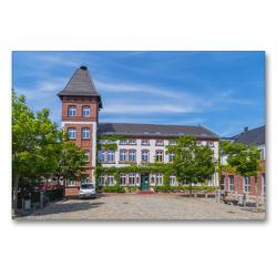 Premium Textil-Leinwand 90 x 60 cm Quer-Format Rathaus der Gemeinde Woltersdorf | Wandbild, HD-Bild auf Keilrahmen, Fertigbild auf hochwertigem Vlies, Leinwanddruck von ReDi Fotografie