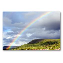 Premium Textil-Leinwand 90 x 60 cm Quer-Format Regenbogen über Pfullingen | Wandbild, HD-Bild auf Keilrahmen, Fertigbild auf hochwertigem Vlies, Leinwanddruck von GUGIGEI