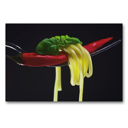 Premium Textil-Leinwand 90 x 60 cm Quer-Format Rote Chili | Wandbild, HD-Bild auf Keilrahmen, Fertigbild auf hochwertigem Vlies, Leinwanddruck von Tanja Riedel