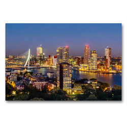 Premium Textil-Leinwand 90 x 60 cm Quer-Format Rotterdam. Wilhelminapier. | Wandbild, HD-Bild auf Keilrahmen, Fertigbild auf hochwertigem Vlies, Leinwanddruck von N N