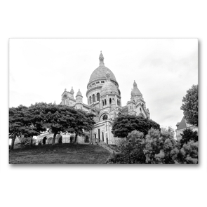 Premium Textil-Leinwand 90 x 60 cm Quer-Format Sacre Coeur in Paris | Wandbild, HD-Bild auf Keilrahmen, Fertigbild auf hochwertigem Vlies, Leinwanddruck von kattobello