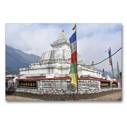 Premium Textil-Leinwand 90 x 60 cm Quer-Format Schöner Stupa im Dorf Chaurikharka im Solu Khumbu auf 2650 m Höhe | Wandbild, HD-Bild auf Keilrahmen, Fertigbild auf hochwertigem Vlies, Leinwanddruck von Ulrich Senff