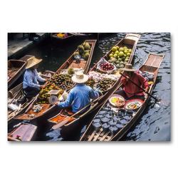 Premium Textil-Leinwand 90 x 60 cm Quer-Format Schwimmende Märkte in Damnoen Saduak | Wandbild, HD-Bild auf Keilrahmen, Fertigbild auf hochwertigem Vlies, Leinwanddruck von Christian Müringer