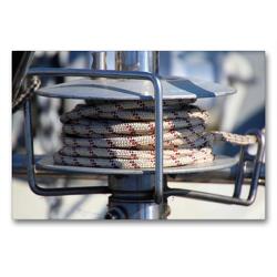 Premium Textil-Leinwand 90 x 60 cm Quer-Format Winsch mit Tau | Wandbild, HD-Bild auf Keilrahmen, Fertigbild auf hochwertigem Vlies, Leinwanddruck von Steffani Lehmann