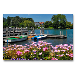 Premium Textil-Leinwand 90 x 60 cm Quer-Format Seepromenade in Bad Wiessee | Wandbild, HD-Bild auf Keilrahmen, Fertigbild auf hochwertigem Vlies, Leinwanddruck von Dieter-M. Wilczek